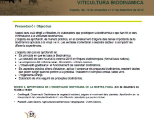 Formació Escoles Agràries – Espiells – Curs d'aprofundiment en viticultura biodinàmica