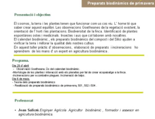 Formació Escoles Agràries – Alfarras – Preparats biodinàmics de primavera
